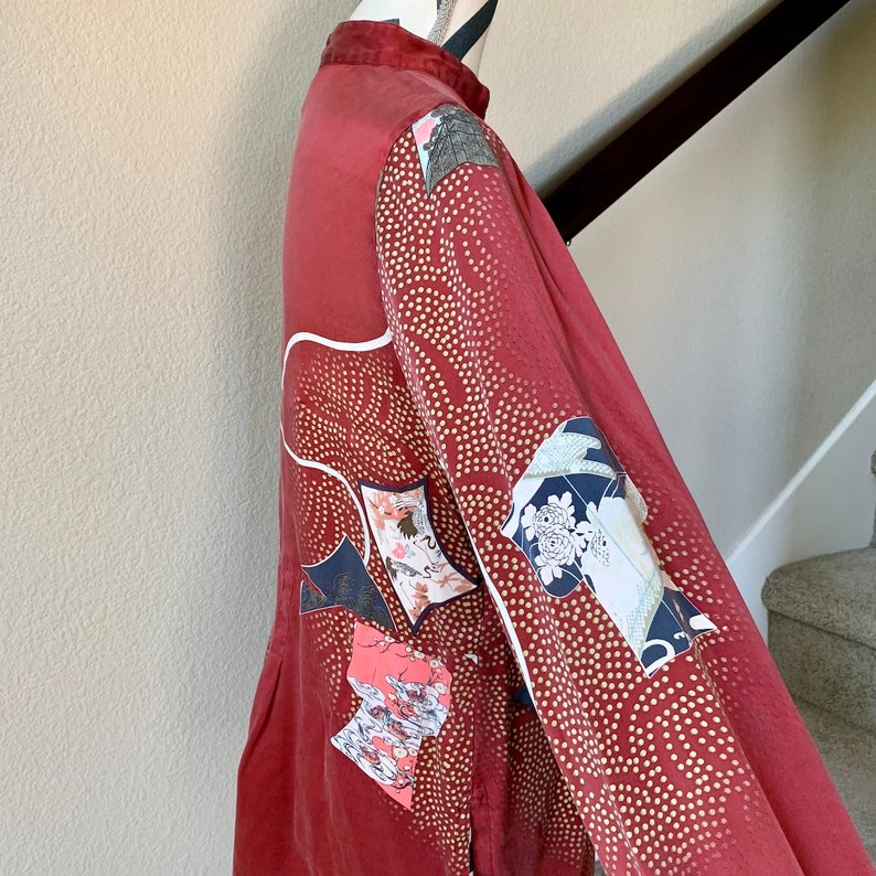Vintage 1990s Asian Fan Floral Psychedelic Pop Art Harajuku Japonisme Print 100/% Silk Blouse Sz M