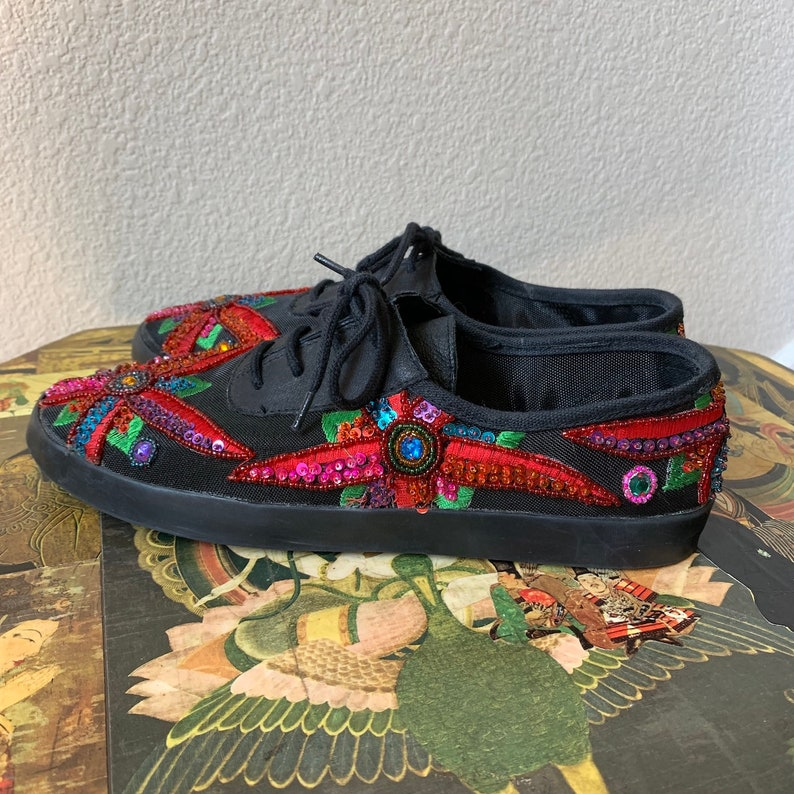 Vintage 1990s One Step Up by Chinese Laundry Rainbow Floral Sequin Boho Trippy Hippie Shoes Sz 8 US