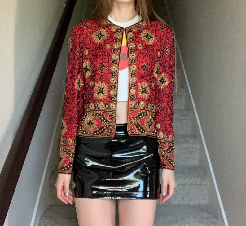 Vintage 1994 Red Gold Black Sequin Beaded Detail Flapper Rococo Old Hollywood Jacket Sz S
