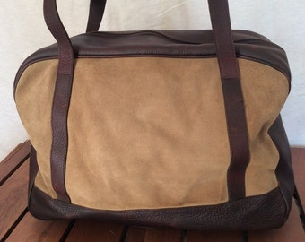 7b87ee78723 25% OFF SALE J JiLl Great Vintage Authentic Brown Leather and Tan Suede  Leather Satchel Carry On Travel Bag