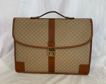 82a7b217e2ab CELINE Taupe Canvas and Brown Leather Trim Briefcase Attache Made in Italy