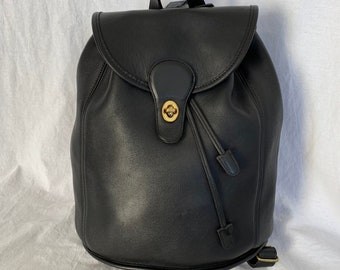 62b2155925 1995 COACH Vintage Black Leather Backpack Made in the United States