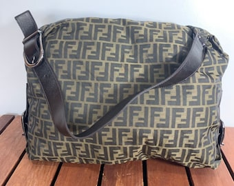 91949737bb59 FENDI ZUCCA Brown Canvas and Leather Trim Shoulder Bag Made in Italy