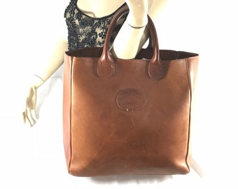 G H BASS   Co Vintage Authentic Brown Leather Satchel Tote Bag 8a992f47f3
