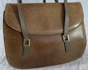 MARK CROSS Distressed Authentic Tan and Light Olive Green Leather Trim Satchel Bag Made in Italy