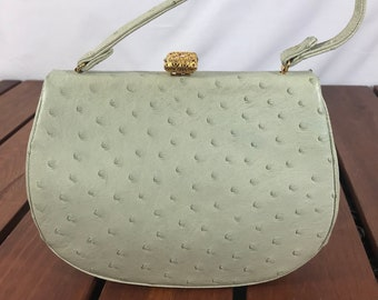 778ca6838c LUCILLE The PARIS Ostrich Skin with Rhinestone Authentic Light Pistachio  Satchel Bag Made in USA Excellent Condition