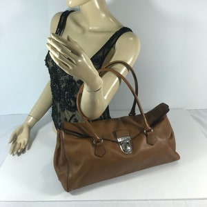 PRADA Vintage Fashionable Authentic Brown Leather Satchel Made in Italy 9e26083b2d4fd