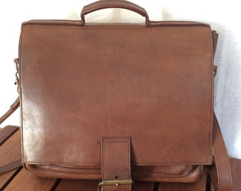 All Leather Vintage Genuine Custom Hide Brown Leather Briefcase Messenger  Bag Made in USA ff1e4c5352213
