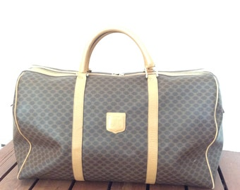 CELINE Genuine Vintage Brown Canvas and Tan Leather Trim Duffle Bag Travel  Bag Made in Italy e752dcb860