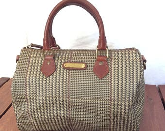 3f3f61985f POLO RALPH LAUREN Houndstooth Brown Leather Trim and Canvas Vintage  Authentic Satchel Bag
