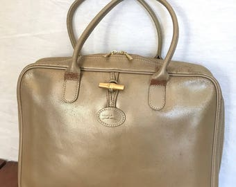 LONGCHAMP PARIS Distressed Genuine Vintage Gold Champagne Leather Satchel  Bag Made in France e6cd65f15a