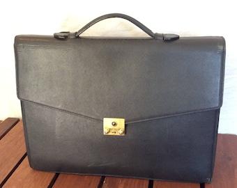 CHAUMET PARIS Authentic Gray Leather Satchel Portfolio Brief Briefcase Made  in France 8017008b56