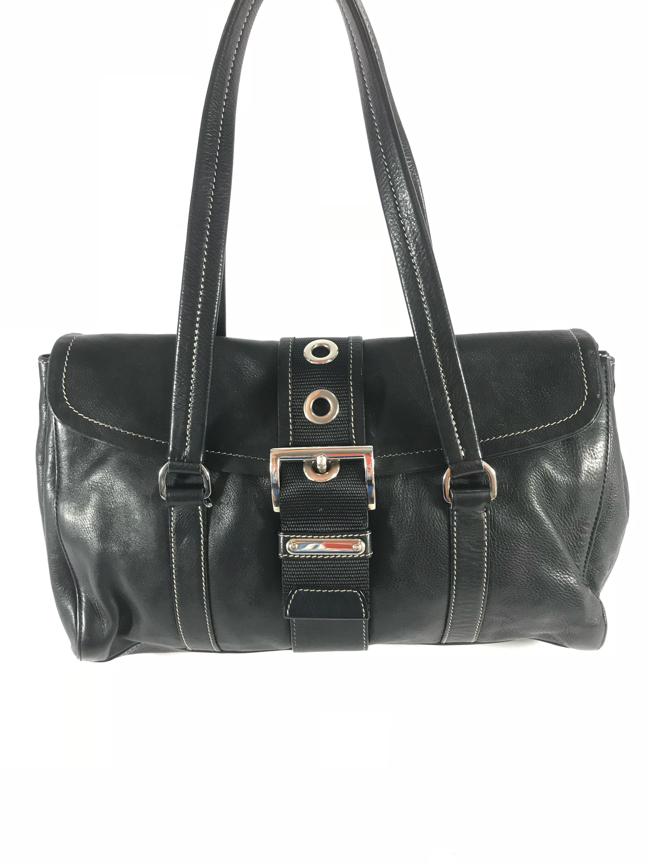 5d777db46529 PRADA Vintage Fashionable Authentic Black Leather Satchel Made in Italy
