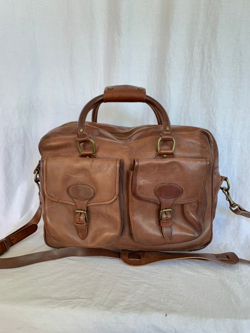 5337ce314a40 POLO RALPH LAUREN Rare Authentic All Brown Leather Messenger