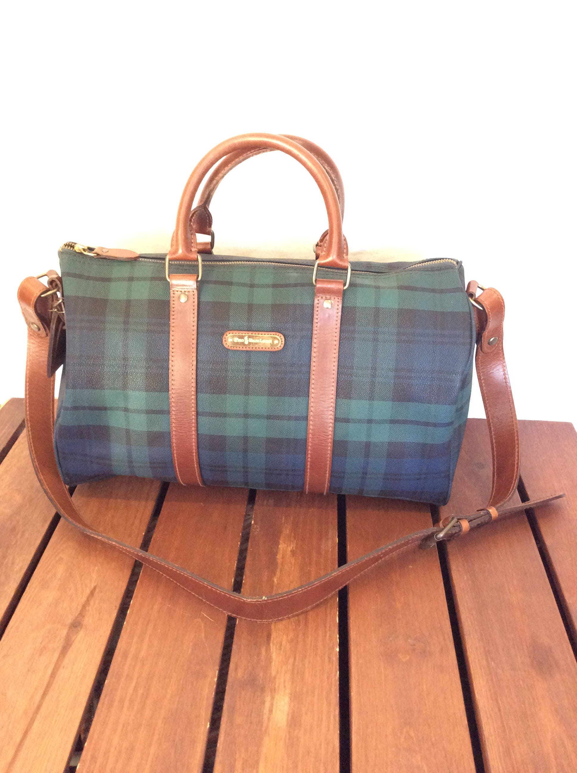 POLO RALPH LAUREN Vintage Genuine Houndstooth Green Canvas and Brown  Leather Trim Satchel Bag Duffle Travel Bag f720d5e180e36