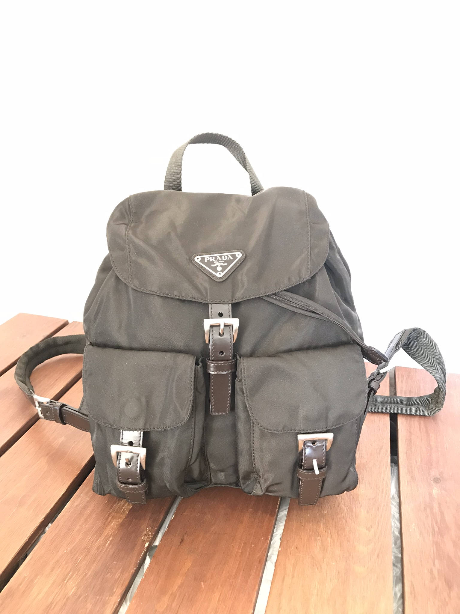 fb62afd9704 Vintage Fashionable Authentic Prada Brown Nylon and Leather Trim Backpack  Made in Italy