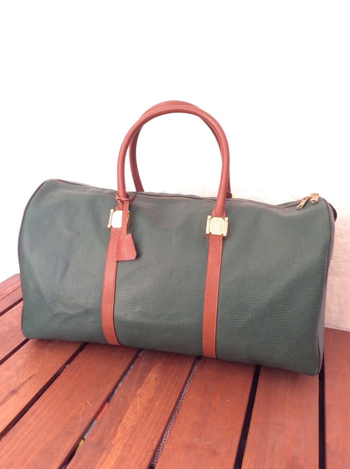 Large Vintage Genuine Philippe Charriol Paris Green and Brown Leather  Duffle Bag Travel Luggage Over Night Bag 7ffd37c8ce