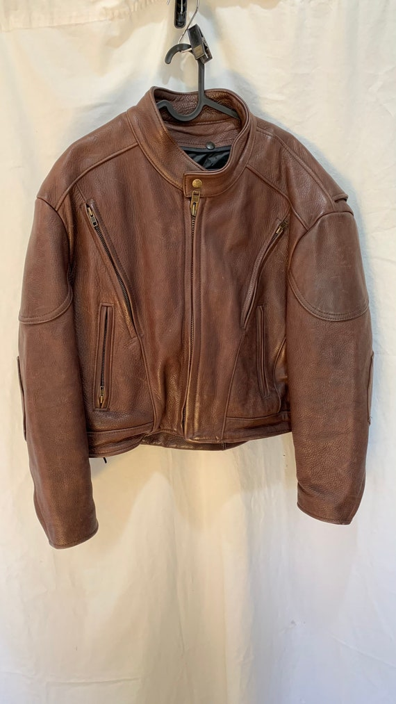 CLASSIC LEATHER Vintage Brown Leather Motorcycle M