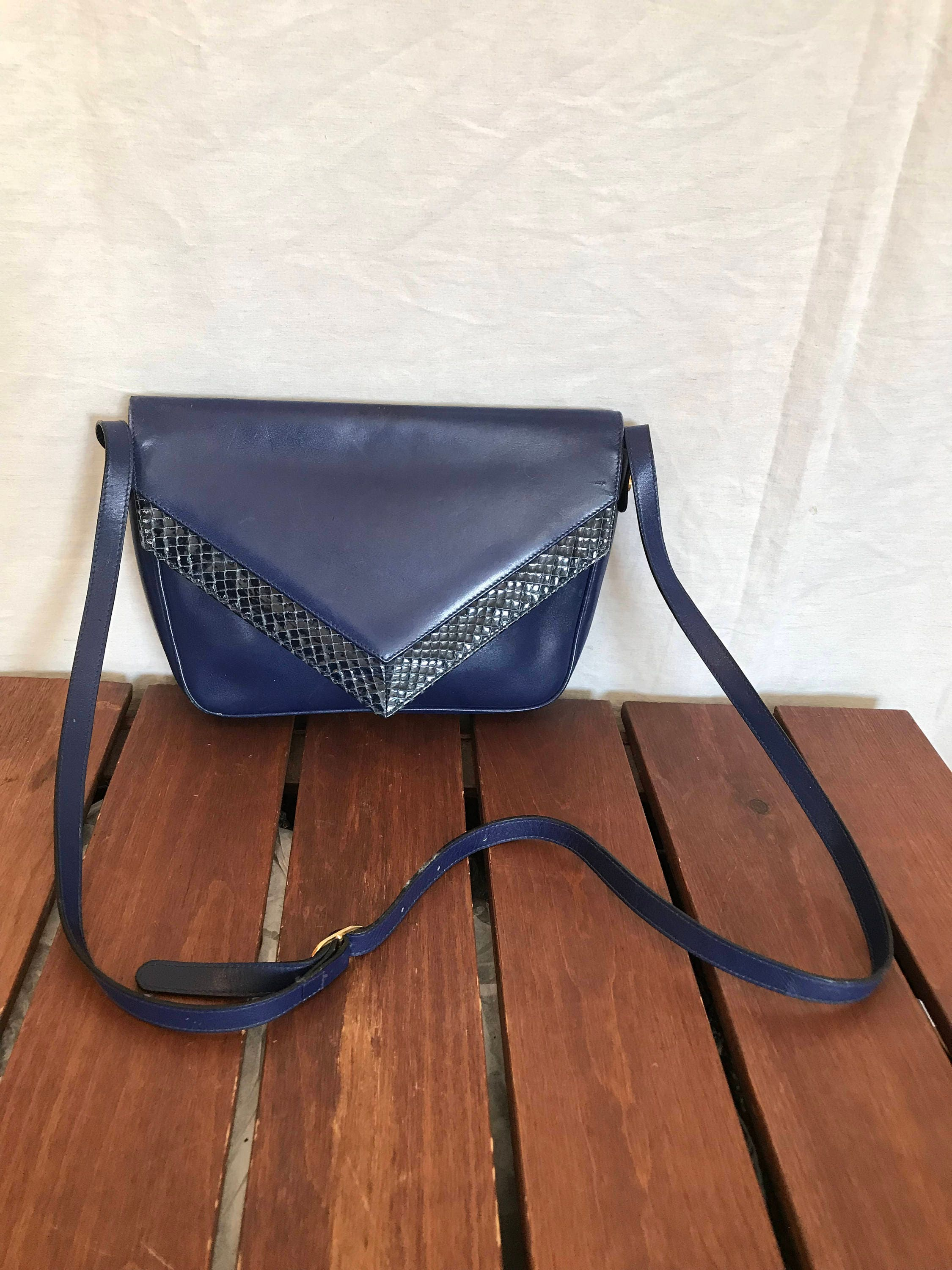 SALVATORE FERRAGAMO Great Authentic Vintage Blue Leather and Snake Trim  Crossbody Bag Shoulder Bag Made in Italy 9c096eaa439b1