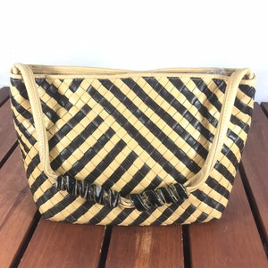 MIMMA Vintage Authentic Beige and Brown Woven Leather Satchel Bag Made in  Italy 5560c653f0f46