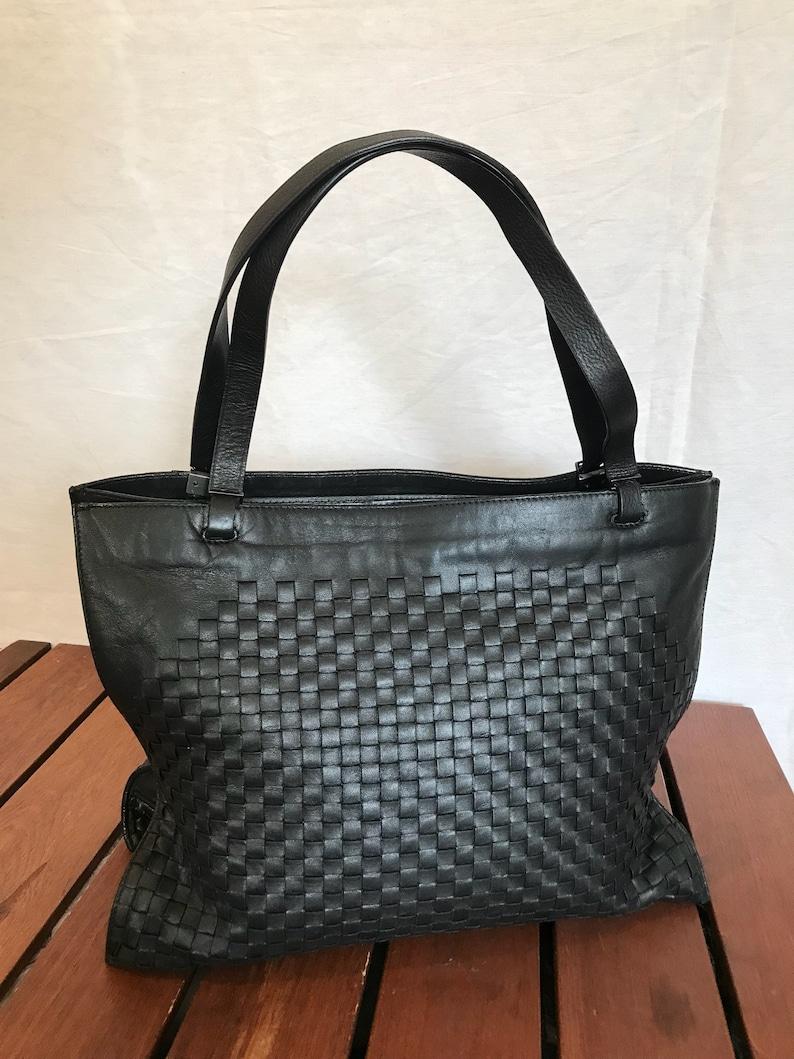 BOTTEGA VENETA Vintage Authentic Black Woven Leather Satchel  958f068431013
