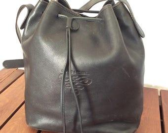 LANCEL Paris Authentic Dark Navy Blue Leather Drawstring Bucket Shoulder Bag Made in Spain