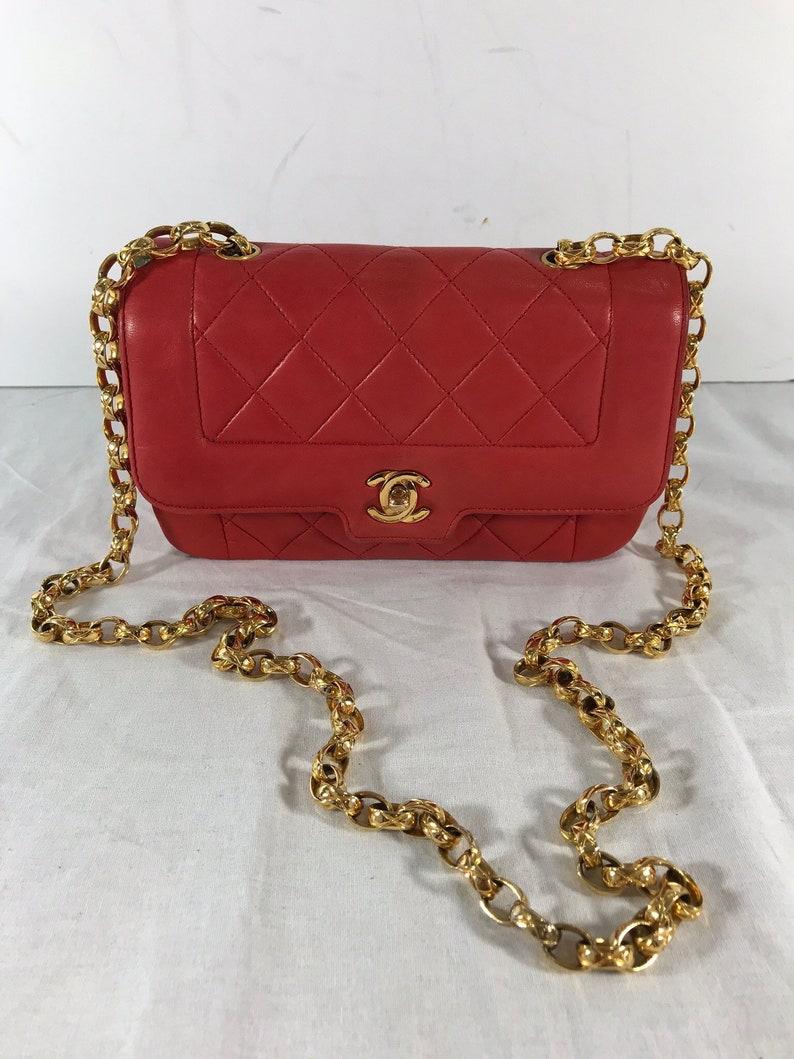 d55d6de8265e4 CHANEL Vintage Classic gesteppt rot Leder Kette Link
