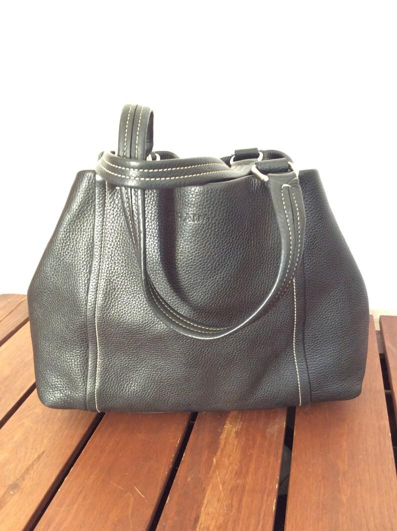 26a2b05875ee PRADA Vintage Fashionable Authentic Black Leather Satchel   Etsy