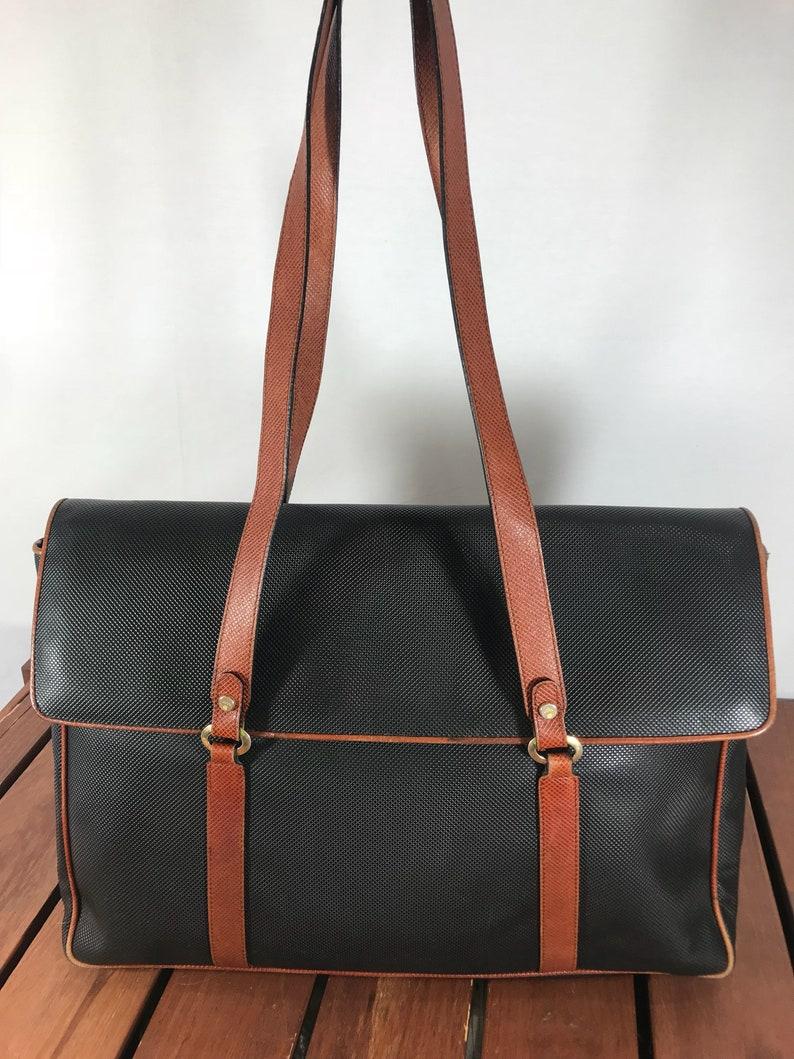 BOTTEGA VENETA Vintage Authentic Black Coated Canvas and Brown  cdf3563fbff9f