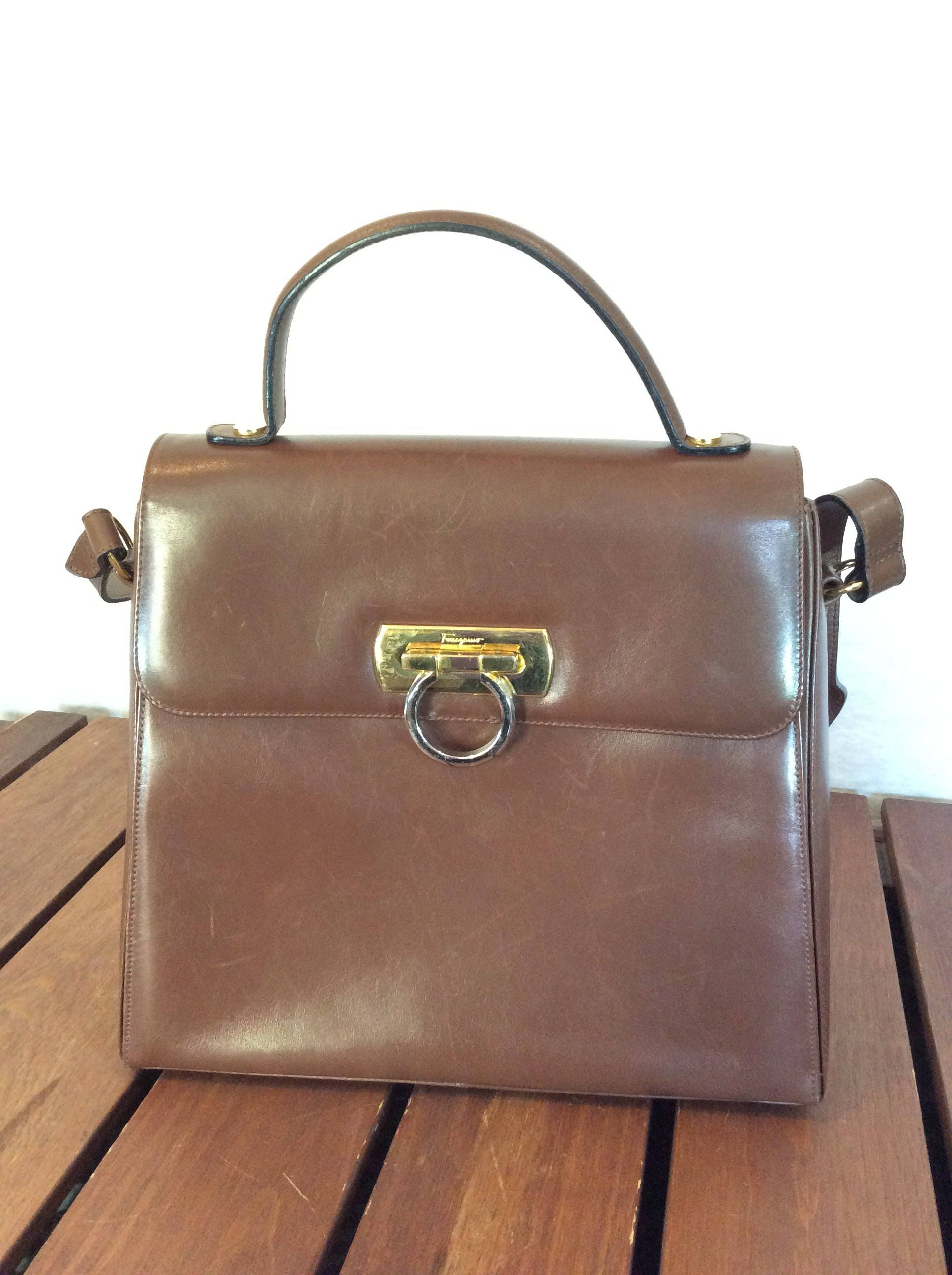 76e86f2f5b SALVATORE FERRAGAMO Gancini Brown Leather Satchel Shoulder Bag Made in Italy