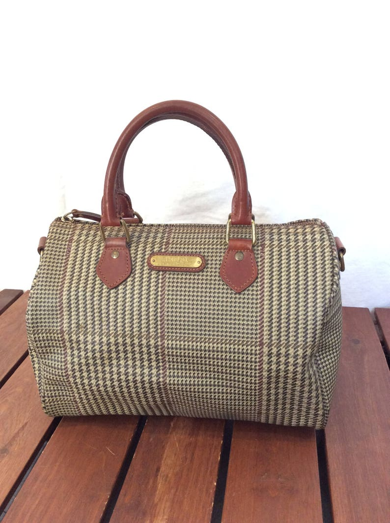 Leather Trim Satchel Polo Vintage Canvas Authentic Houndstooth And Bag Brown Ralph Lauren 3RL5jq4A
