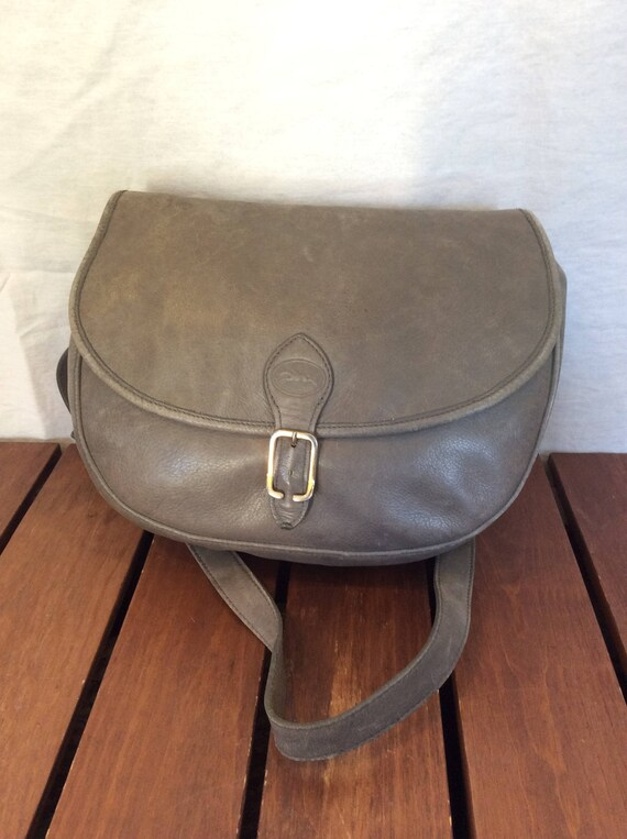 c89369b602ae LONGCHAMP Authentic Paris Gray Leather Shoulder Bag Made in