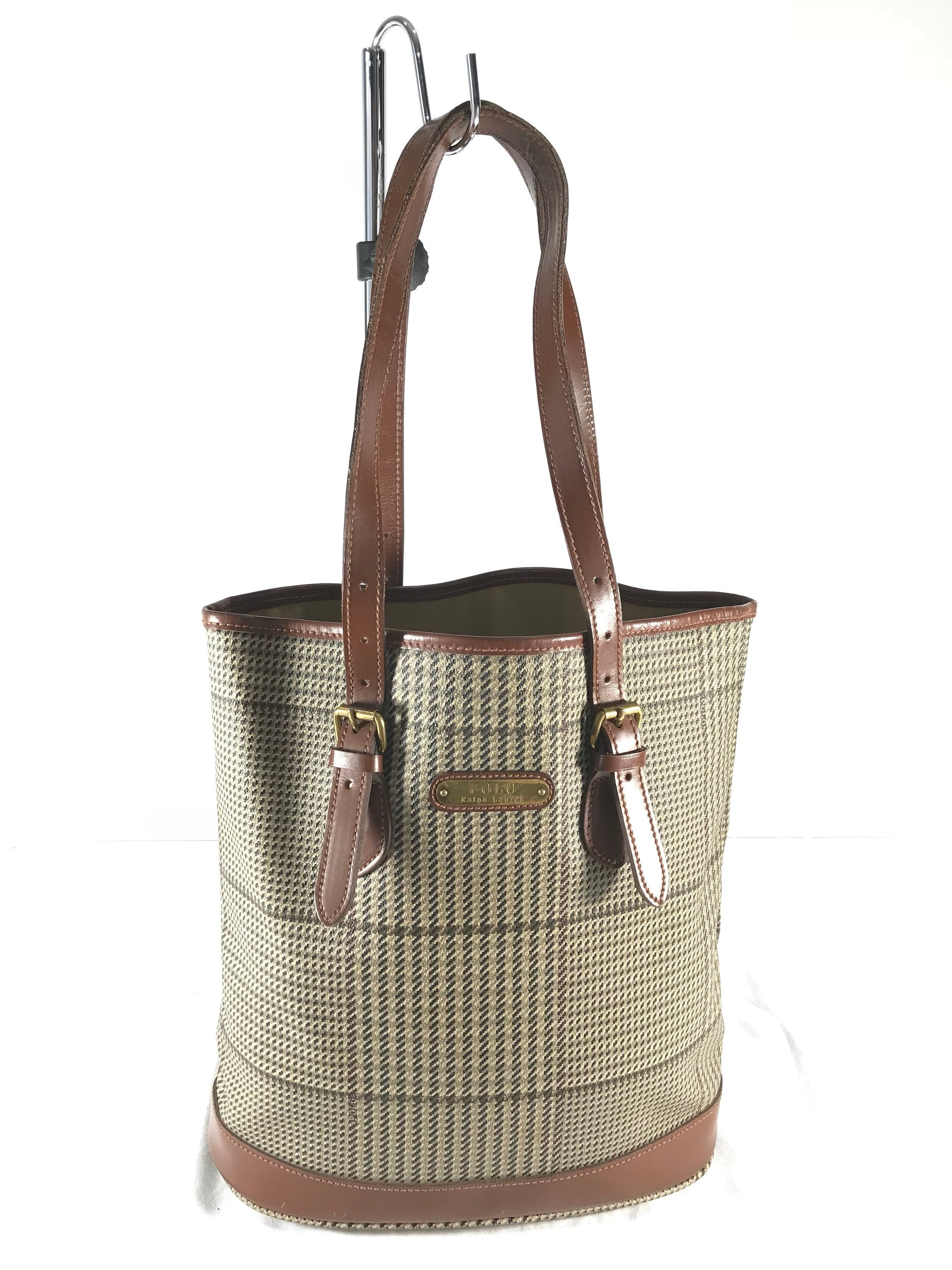 a8f241b762b5 POLO RALPH LAUREN Houndstooth Brown Leather Trim and Canvas Vintage  Authentic Satchel Shoulder Bag