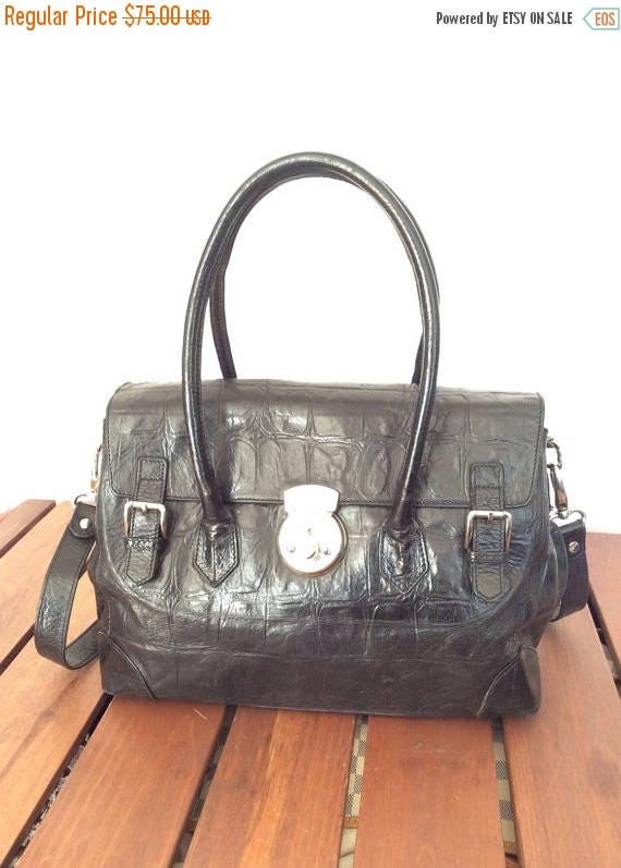 20% OFF SALE Vintage Authentic Innovare Black Leather Satchel Shoulder Bag  with Key Made in Italy 859499b23b