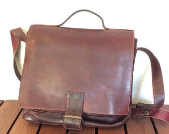 15% OFF VACATION SALE Vintage Genuine Oxblood Thick Leather Messenger Bag Briefcase