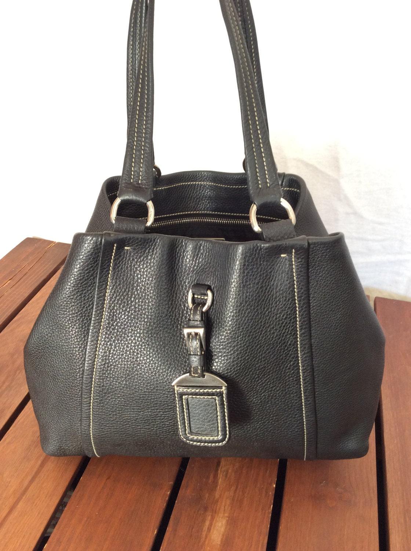 ac07af647037 PRADA Vintage Fashionable Authentic Black Leather Satchel Shoulder Bag Made  in Italy