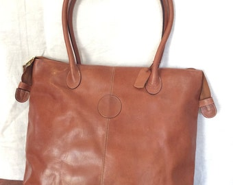 Distressed Large Vintage Genuine Tan Leather Satchel Tote Shoulder Bag Made in Colombia Great Worn Patina