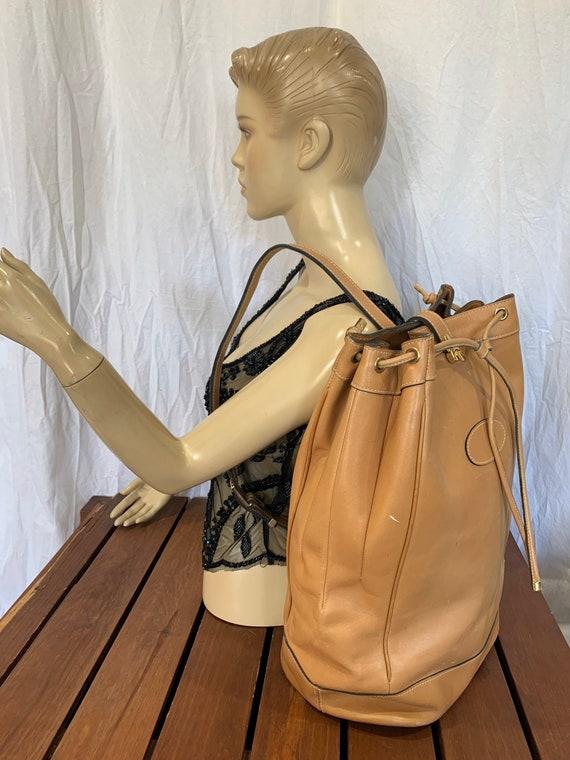 Authentic Vintage Tan Leather Snap Sack Bag Should
