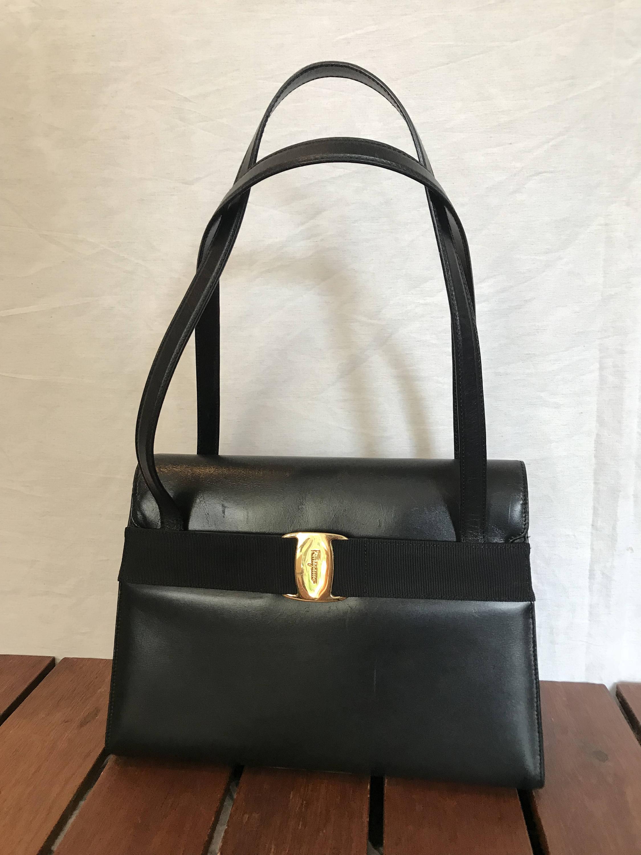 SALVATORE FERRAGAMO Gancini Great Vintage Authentic Structured Black Leather  Vara Metal Logo Satchel Shoulder Bag Made in Italy 41a3181ed2d2a