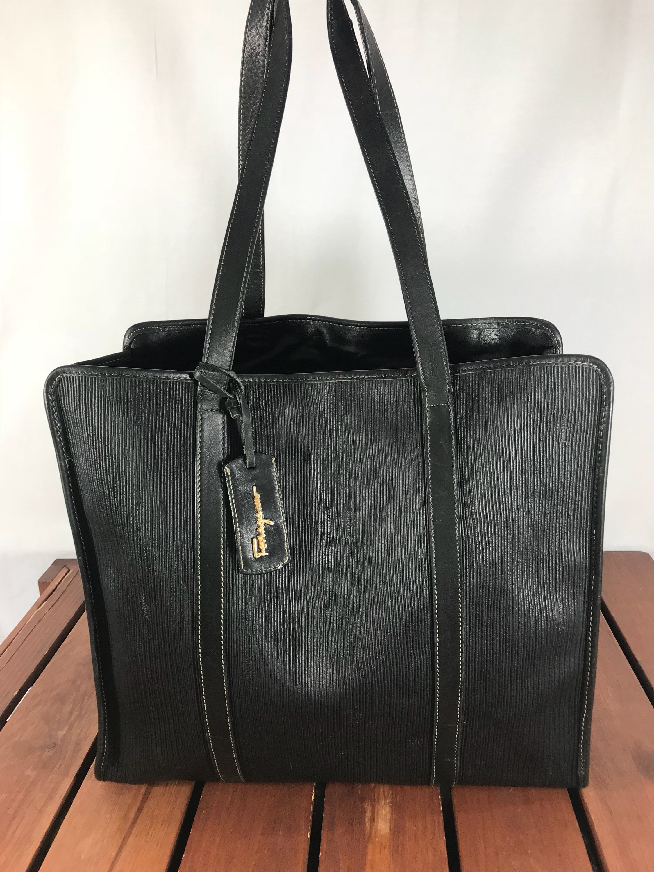 SALVATORE FERRAGAMO Great Vintage Authentic Black Coated Canvas Vinyl and  Leather Trim Satchel Shoulder Bag Made in Italy 4d0be1b214ba1