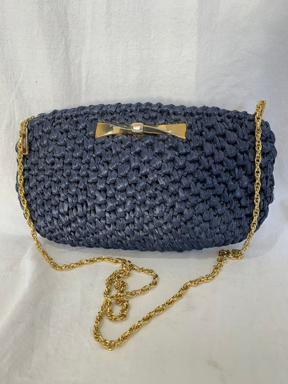 RODO Great Vintage Navy Blue Straw Shoulder Bag