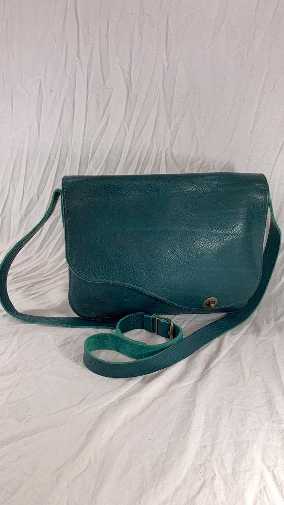 Great Vintage Teal Leather Messenger Briefcase Bag