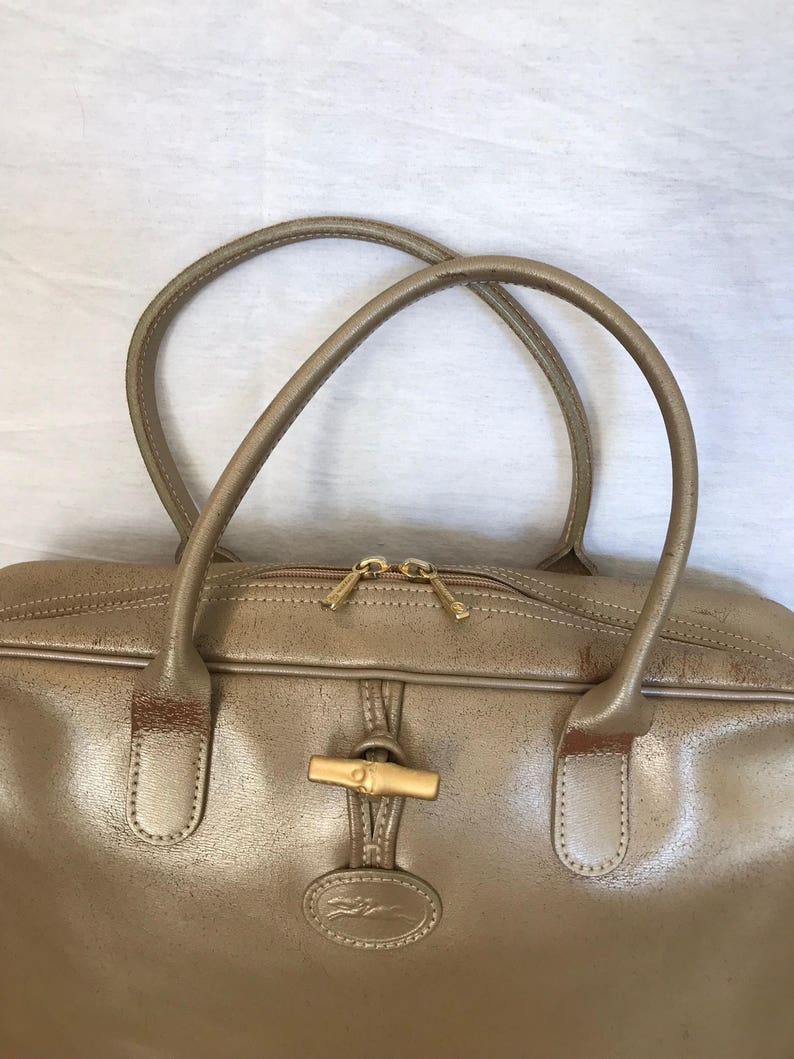 85092ded15a9 LONGCHAMP PARIS Distressed Genuine Vintage Gold Champagne Leather Satchel Bag  Made in France