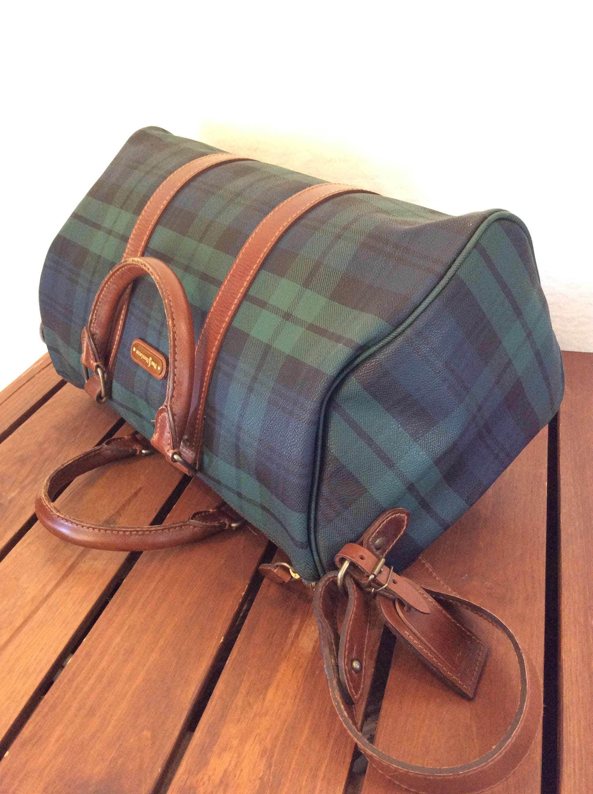 ef3219d0ee89 POLO RALPH LAUREN Vintage Genuine Houndstooth Green Canvas and Brown ...