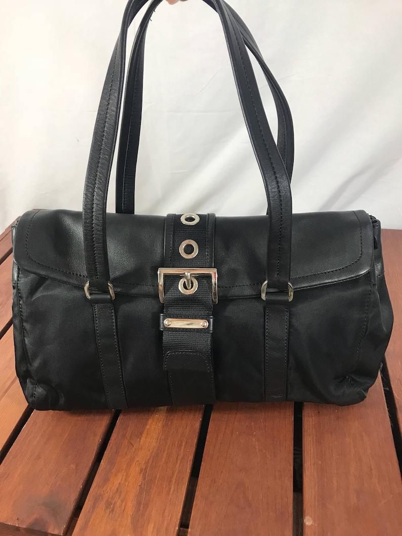 d6cee9206523 Vintage Fashionable Authentic Prada Black Leather and Nylon   Etsy