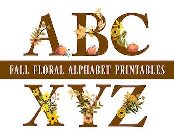 Fall Floral Alphabet Printables, Fall Clipart, Fall Letter Clipart, Halloween, Thanksgiving, Fall Banner, Fall Garland, Digital Download
