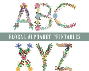Floral Alphabet Clipart, Letters Clipart, Floral Alphabet Printables, Digital Download, Floral Digital Letters, Floral Font Clipart