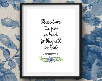 The Beatitudes Printable Wall Art, Digital Download, Matthew Chapter 5, Watercolor floral graphics, Greeting cards, Thinking of you cards