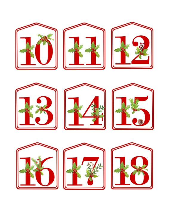picture about Christmas Numbers Printable titled Do it yourself Xmas Introduction Calendar Crimson Printable Quantities 1 - 25, Electronic Obtain, Xmas Countdown, Arrival Amount Tags, Introduction Bag Tags