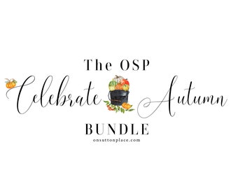 Celebrate Autumn Bundle, Includes Fall Printables, Thanksgiving Planner, Give Thanks Banner, Fall Gift Tags, Pumpkin Recipes, Paper Chain
